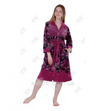 Халат велюровый женский на молнии 3920 Kiran фуксия