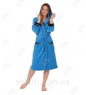 Халат велюровый женский на запах К-5065 Kiran голубой
