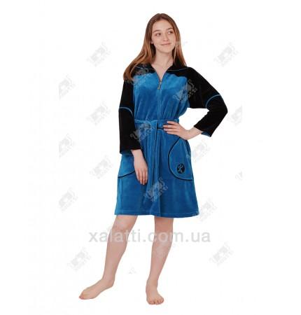 Халат велюровый женский на молнии K 5340 Kiran синий
