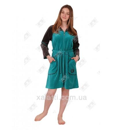 Халат велюровый женский на молнии K 5340 Kiran зеленый