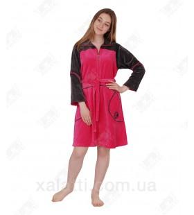 халат велюровый женский на молнии K 5340 Kiran малиновый
