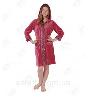 Халат велюровый женский на молнии капюшон К9207 Kiran фрез