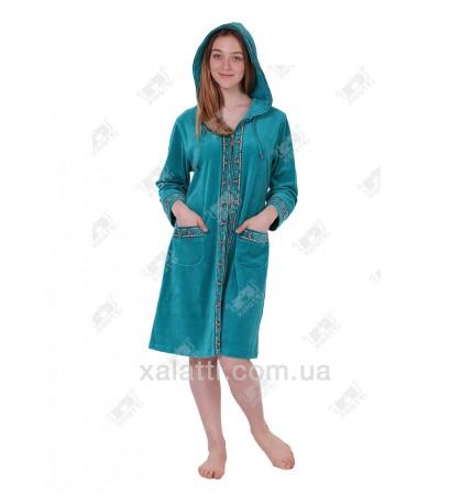 Халат велюровый женский на молнии капюшон К-9207 Kiran фрез