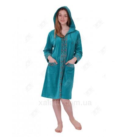Халат велюровый женский на молнии капюшон К-9207 Kiran зеленый