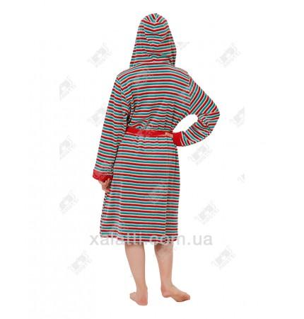 Халат велюровый женский на молнии капюшон КС3067 Kiran зеленый