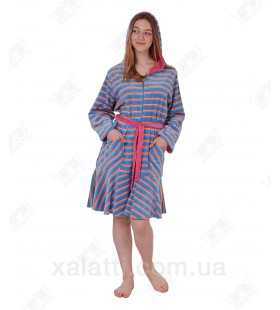 Халат велюровый женскийна молнии капюшон КС4036 Kiran голубой