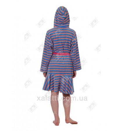 Халат велюровый женский на молнии капюшон КС4036 Kiran голубой