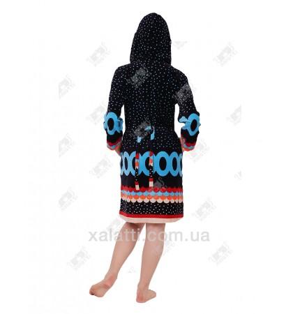 Халат велюровый женский на молнии KЕ 9317 Kiran голубой