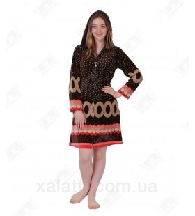 Халат велюровый женский на молнии KЕ 9317 Kiran коричневый