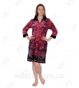 Халат велюровый женский на молнии КЕ-9410 Kiran слива