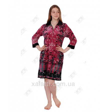 Халат велюровый женский 46-48 на молнии КЕ9410 Kiran фрез