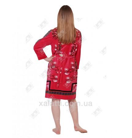 Халат велюровый женский на молнии Сакура Kiran малиновый