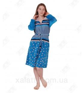 Халат велюровый женский на молнии КJ-195 Kiran голубой