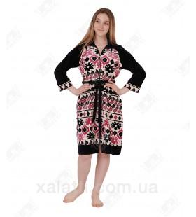 Халат велюровый женский на молнии К-3095 Kiran черный