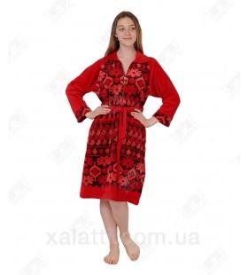 Халат велюровый женский на молнии К-3095 Kiran красный