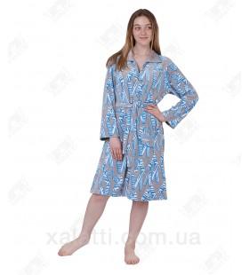 Халат велюровый женский на молнии КJ-5970 Kiran голубой