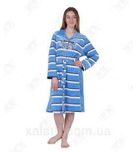 Халат велюровый женский на молнии КR-4830 Kiran голубой