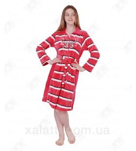 Халат велюровый женский на молнии КR-4830 Kiran коралловый