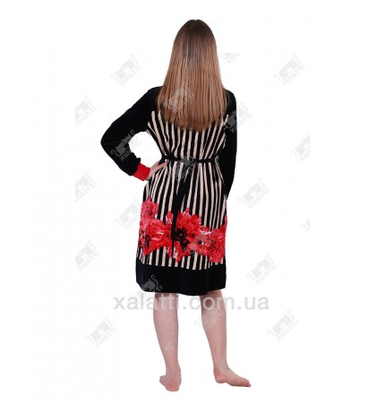 Халат велюровый женский на молнии KE 1000 Kiran красный