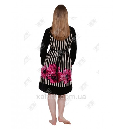 Халат велюровый женский на молнии KE 1000 Kiran малиновый