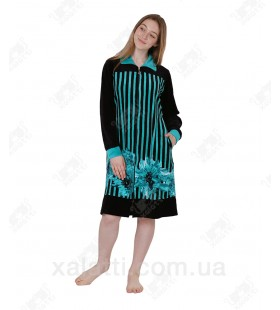 Халат велюровый женский на молнии KE 1000 Kiran зеленый