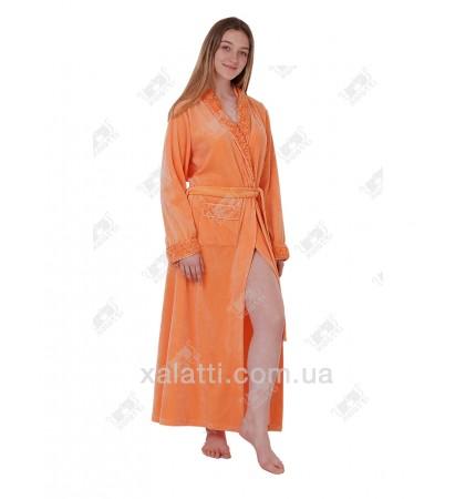 """Халат велюровый женский """"Розочки"""" Marilyn оранжевый"""
