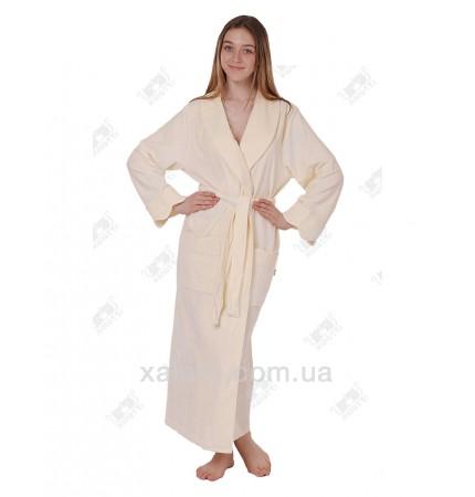 Велюровый халат женский Nusa кремовый