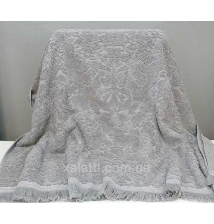 Полотенце махровое 100*150 хлопок Jakkar серый