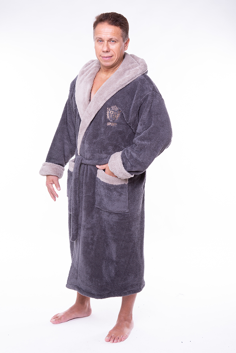 48a6af4874ba Купить Мужской махровый халат капюшон 50-52 софт серый от Aldona