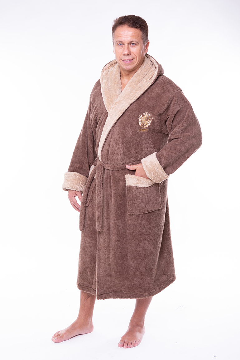 af6aeb75543e Купить Мужской махровый халат капюшон 50-52 софт коричневый от Aldona