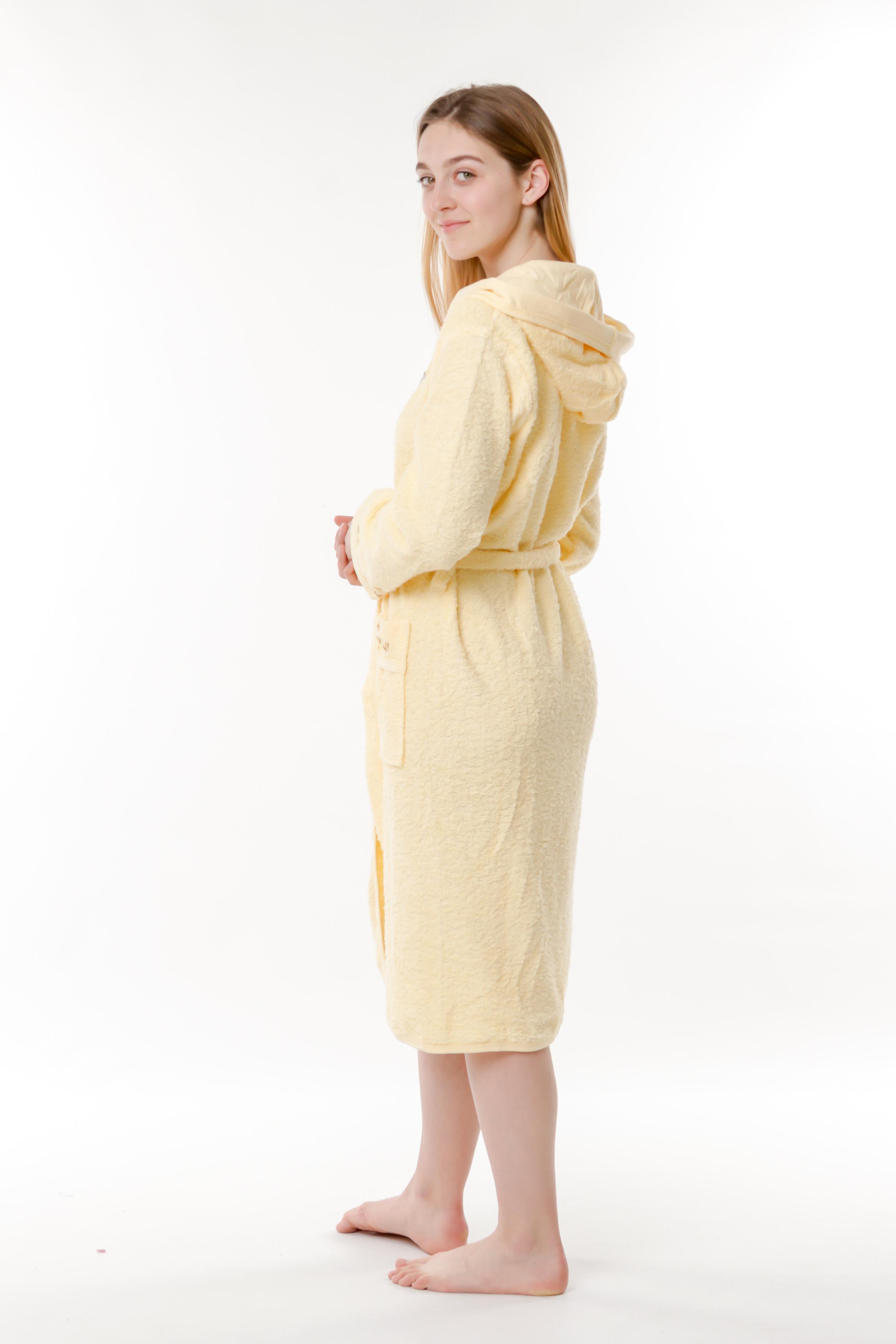 6992d69f819d ... Халат женский махровый 44-50 махровый с капюшоном Ramel желтый ...