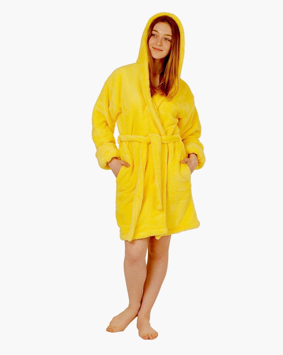 05ca37bf44db Купить Халат женский короткий 50-52 махровый с капюшоном софт желтый ...