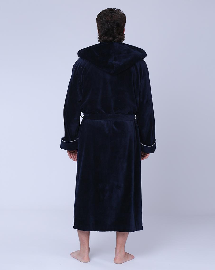 ddd1419d312 Купить Халат мужской махровый капюшон 50-54 синий Nusa бамбук от NUSA
