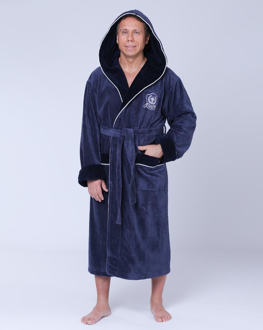 59cbed6de9b Купить Халат мужской махровый капюшон 50-54 бамбук серо-синий Nusa ...
