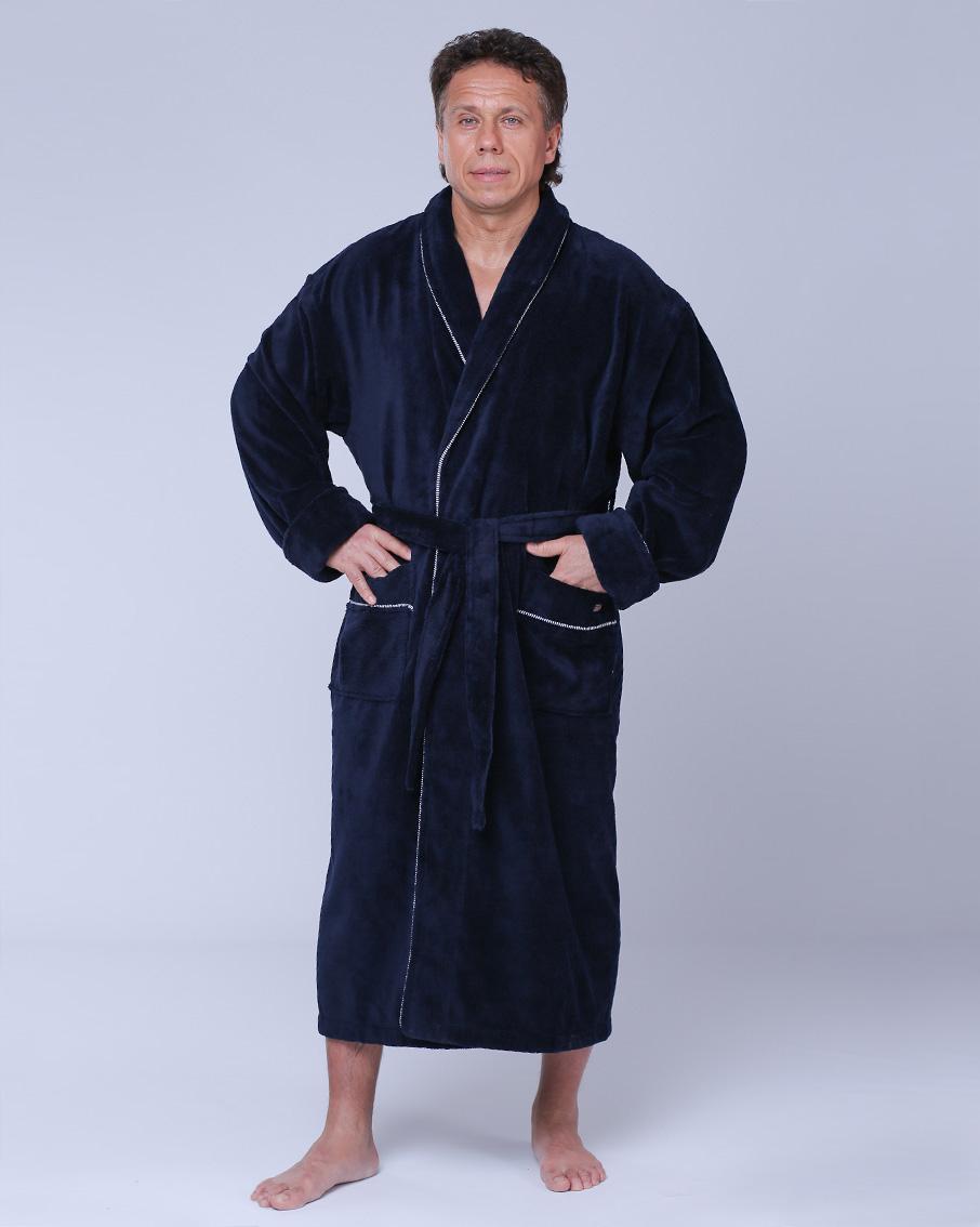 5a2c95e93b3c0 Купить Халат мужской махровый 50-64 синий Nusa бамбук от NUSA
