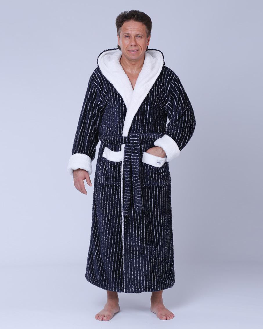 55c340b10b8b Купить Мужской махровый халат капюшон 52-54 софт Snowdrop от NUSA