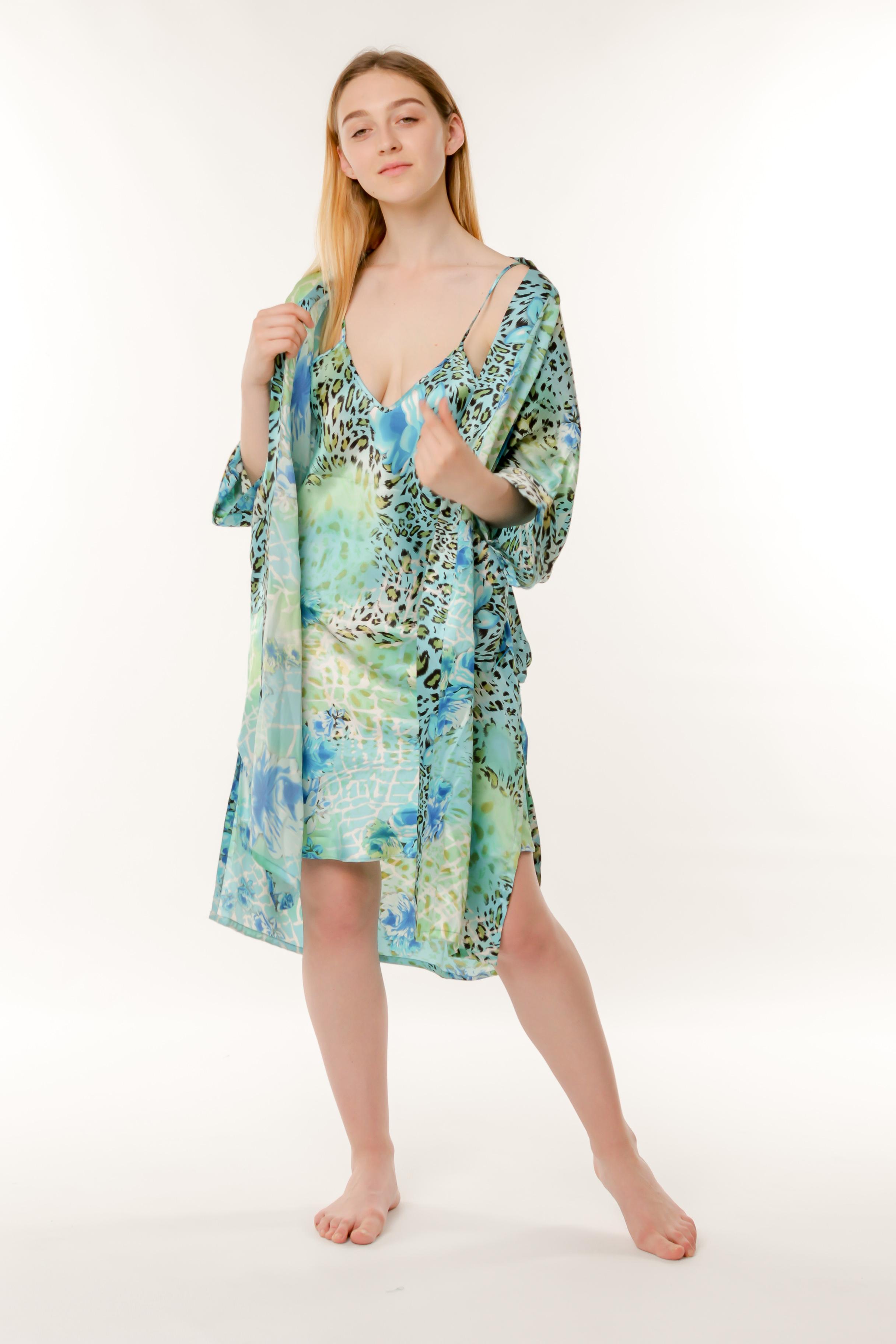 d437deea971b0 Купить Набор ночная сорочка и халат шелк голубой Китай от Китай