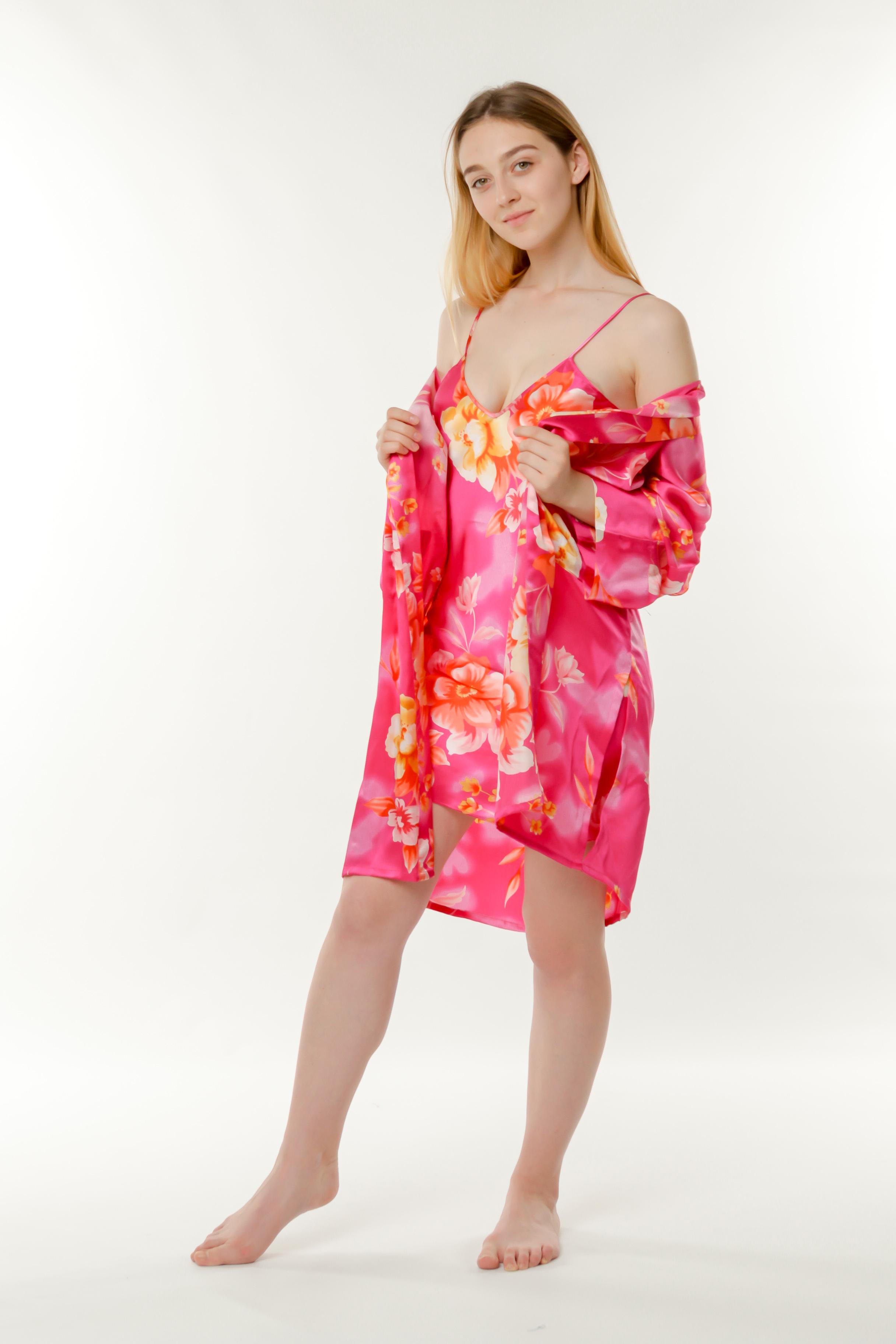 b0668dd6c8786 Купить Набор ночная сорочка и халат шелк малиновый Китай от Китай