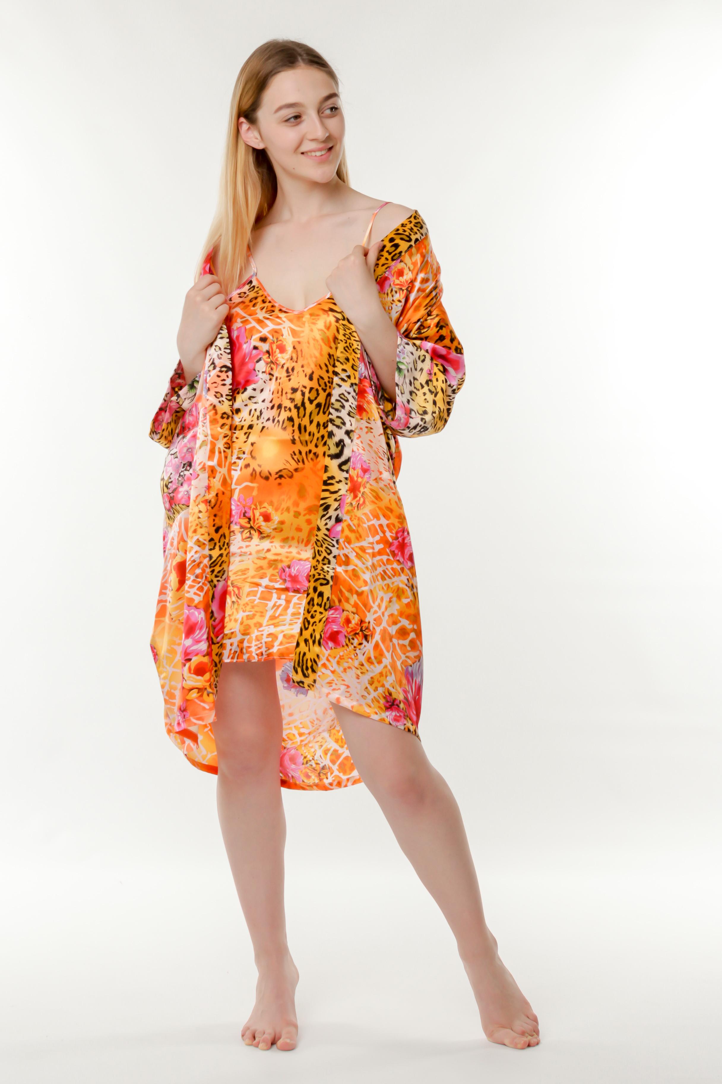57fd4482cea1b Купить Набор ночная сорочка и халат шелк оранжевый Китай от Китай